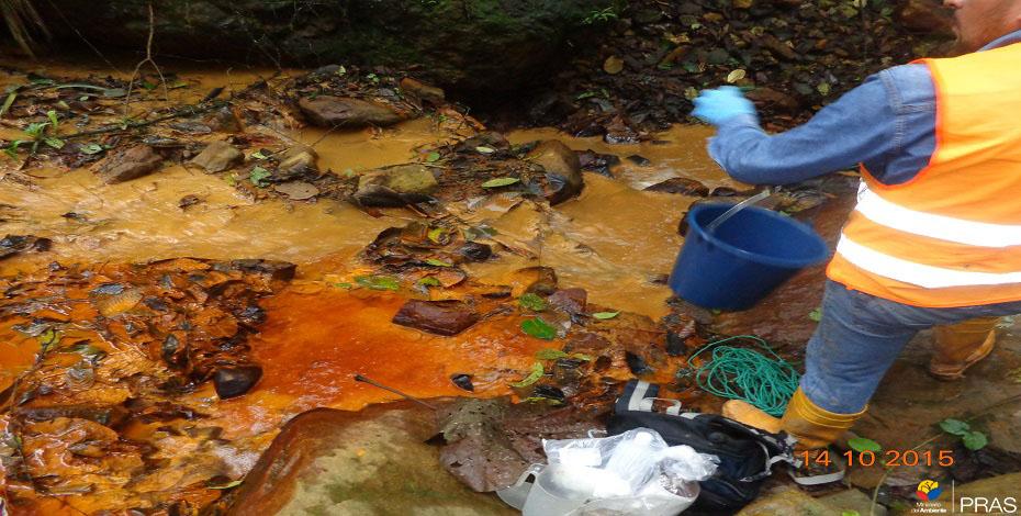 Afectación a cuerpo hídrico por actividades mineras. (El Oro. 2014)